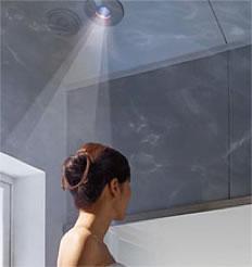 浴室で埋め込み式のLED電球を使った照明のイメージ