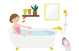 女性が入浴しているイラスト