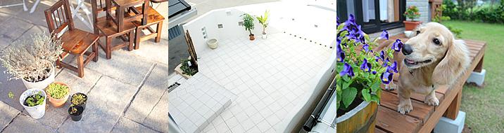 リフォームしたきれいな庭やテラスの写真