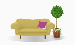 ソファの横に観葉植物が置かれたインテリアのイメージ