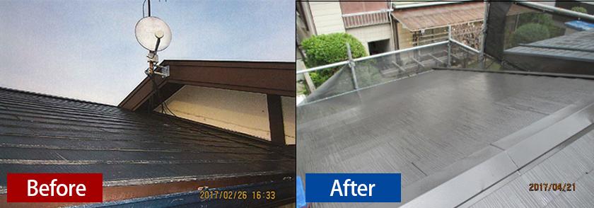 屋根のシリコン塗装ビフォーアフター