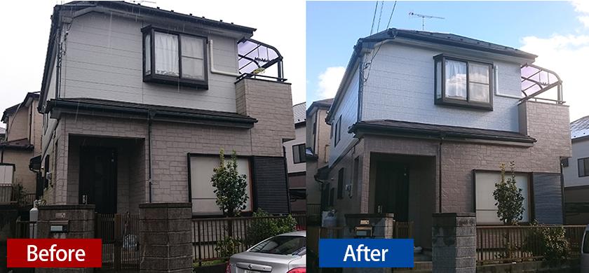 お家の外壁シリコン塗装のビフォーアフター