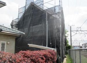 外壁塗装足場組み立て後の写真