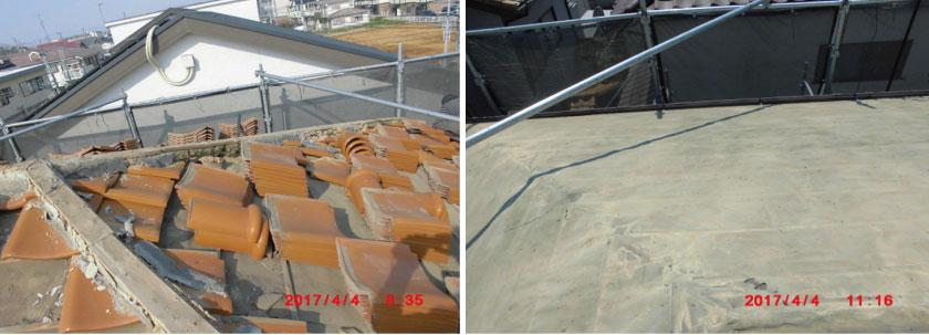 屋根リフォーム工事風景