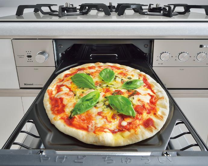 グリルでピザ
